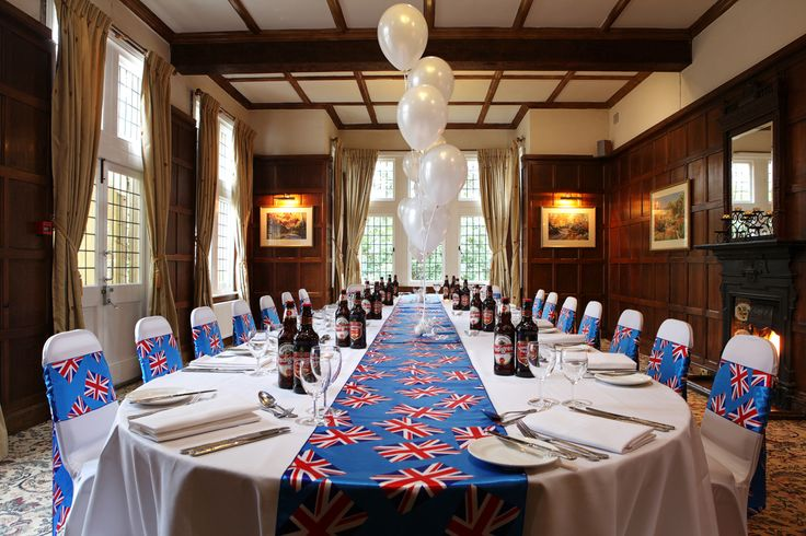 The Oak room set for a GB inspired party!