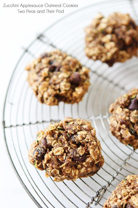 Zucchini Applesauce Oatmeal Cookies on twopeasandtheirpod.com Love these healthy cookies!