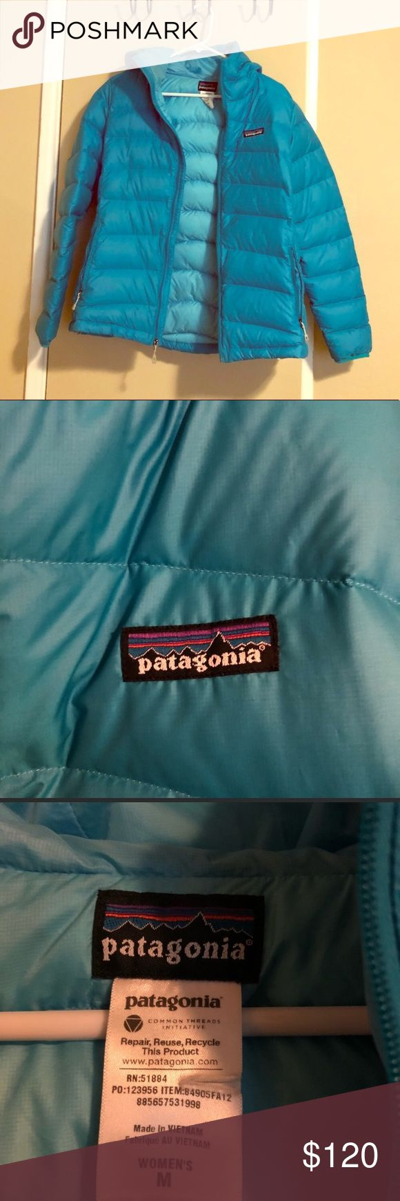 Patagonia Down Sweater Hoody Jacket Patagonia down sweater hooded jacket. New without tags, only tried on, so excellent condition. The color is a lighter teal, the photos can be deceiving. Color is best show in 2nd to last photo. Photos are showing a darker exterior but the entire jacket is actually the the same as in the inside. Last photo is just for reference Patagonia Jackets & Coats