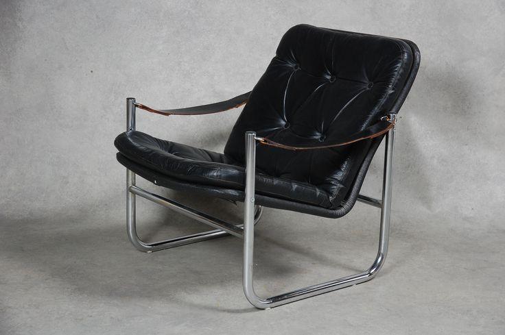 FÅTÖLJ, skinn, troligen IKEA 1970-tal.