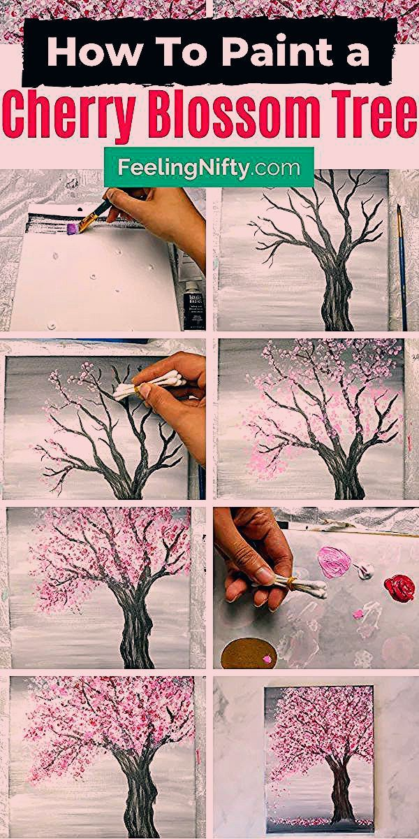 Learn How To Paint An Easy Cherry Blossom Tree Painting Perfect For Beginners Who Want To Keep It Si Cherry Blossom Painting Cherry Blossom Tree Blossom Trees