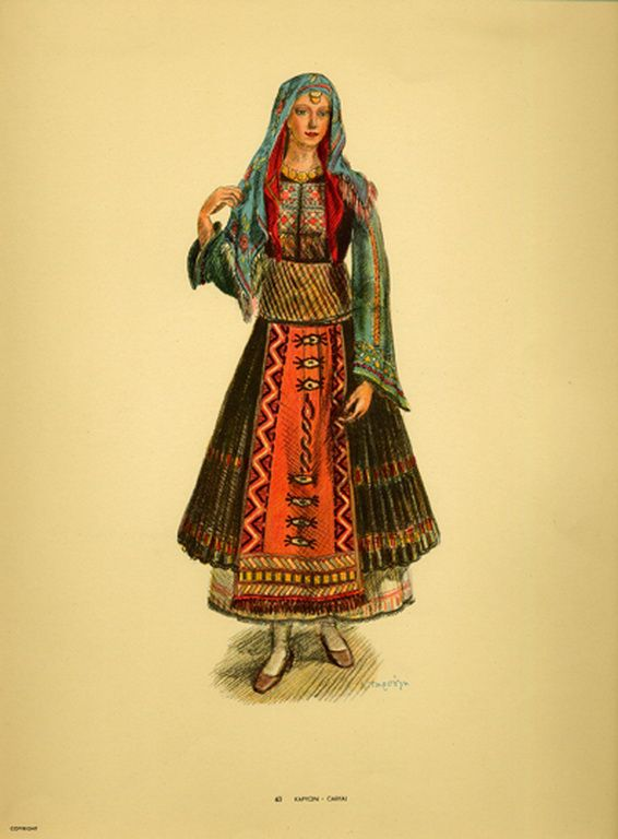 Φορεσιά Καρυών. Costume from Caryai. Collection Peloponnesian Folklore Foundation, Nafplion. All rights reserved.