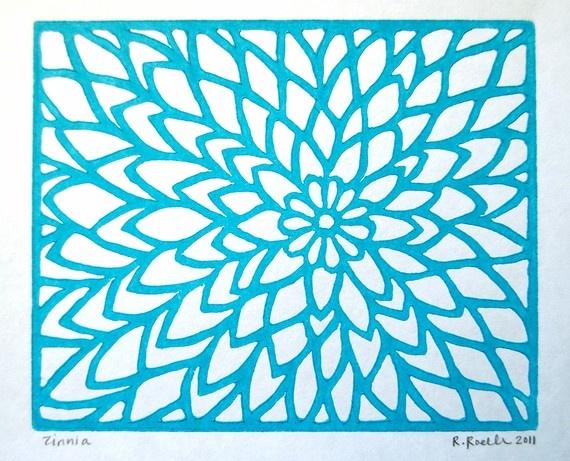 Zinnia Lino Print - Aqua