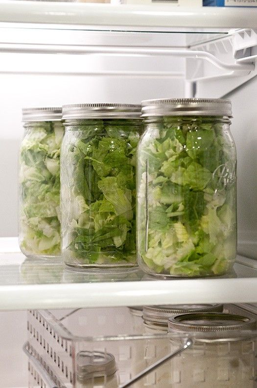 Store your salad in mason jars. It will keep for 7-9 days longer than average and your lettuce will not turn brown or have wilted leaves. Also, easy to grab on the go, just add dressing!