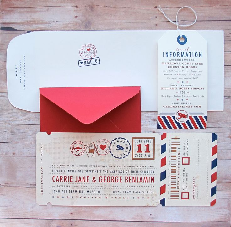 Airplane Boarding Pass Ticket Invitation with Luggage Tag - Custom Airline Travel Theme for Destination Wedding, Birthday, Bar & Bat Mitzvah by LetterBoxInk on Etsy https://www.etsy.com/listing/225591534/airplane-boarding-pass-ticket-invitation