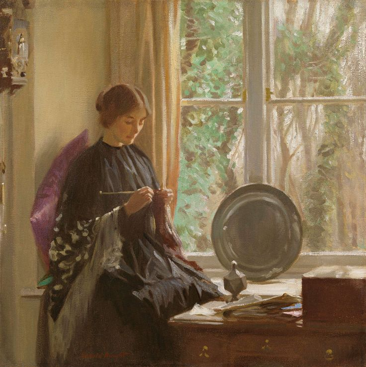 https://flic.kr/p/tPqq3V | Harold Knight - Knitting [c.1915] | A quieter foil to his ebullient wife Laura, Harold Knight was an equally fine painter. Knitting dates from around 1915, when the Knights were living at Oakhill, St Buryan, near Lamorna in Cornwall. Harold produced a number of sensitive scenes of women in interiors during this period, in part because artists were forbidden to produce views of the Cornish coastline for security reasons during the First World War. Oakhill was also…