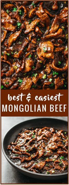 Best authentic easiest mongolian beef - Mongolian beef is an easy and fast 15-minute stir-fry recipe with tender beef slices and a bold sticky sauce with a hint of spiciness. It's served with steamed
