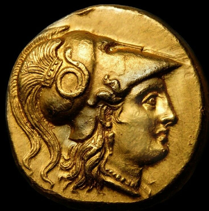 Solid Gold Ancient Greek Stater  317-311BC Goddess Athena in crested Corinthian Helmet adorned w/ coiled snake