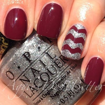 Zoya Toni with silver chevron accent nails by Aggies Do It Better AGGIE NAILS!