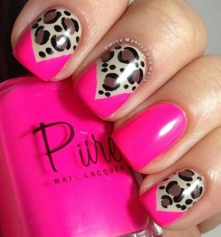 Pink & Cheetah Nails