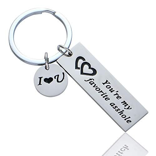 BESPMOSP Funny Couple Keychain You're My Favorite Asshole Bitch Jewelry Valentines Day Gift for Her Girlfriend Boyfriend Husband Keyring