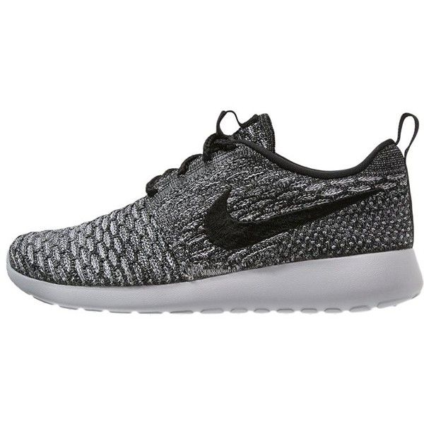 Nike Sportswear ROSHE ONE FLYKNIT Trainers cool/black/wolf grey/white ($150) ❤ liked on Polyvore
