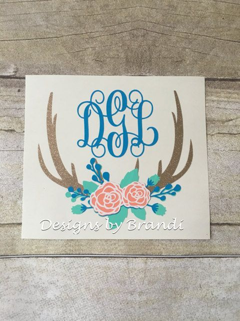 Monogrammed deer antlers decal monogram by designsbybrandico