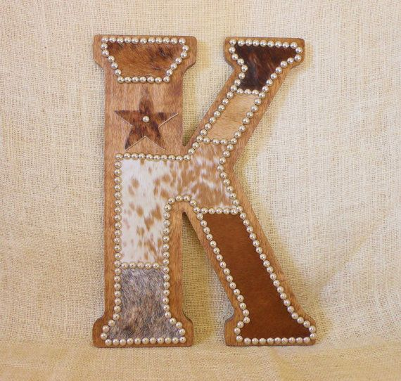cowhide wall letter k western home decor wall hanging cowboy nursery monogram - Home Decor Wall Hangings