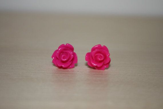 Hot Pink 10mm Rose Earrings W/ Surgical by ForTheLoveOfColour