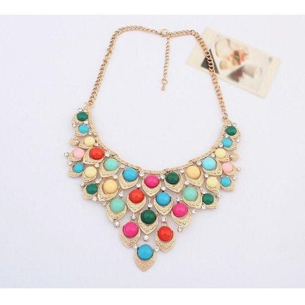 masívny náhrdelník s farebnými kamienkami multicolor 50 cm