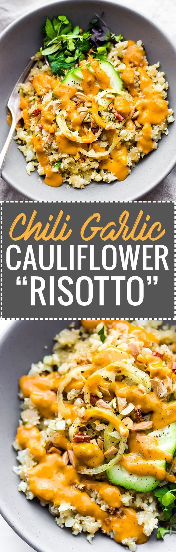"These Chili Garlic Cauliflower ""Risotto"" Bowls are an easy Paleo dish to satisfy that comfort food craving! A healthy vegan recipe with a spicy sauce. The Cauliflower Rice is the ""risotto"" and is cooked a non dairy (coconut or almond) milk; all in one pan! The sauce is made extra spicy and creamy with chili, garlic, and avocado combined. Great as side or plant based main. Whole30 options included. www.cottercrunch.com @cottercrunch"