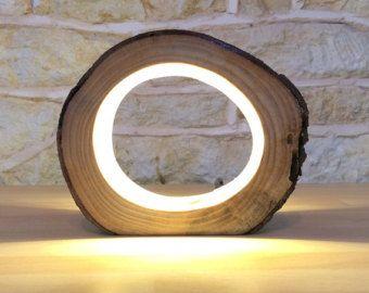 Handmade Log Lamp Table Lamp Desk Light Real by Uniquelightingco