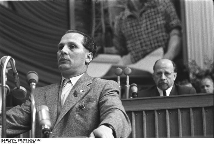 Erich Honecker (left) being watched by his mentor Walter Ulbricht at the Fifth Party Conference in1958.