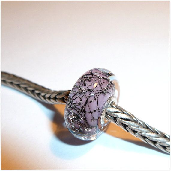 luccicare beads | Luccicare Lampwork Bead - Lavender Steel - Lined with Sterling Silver