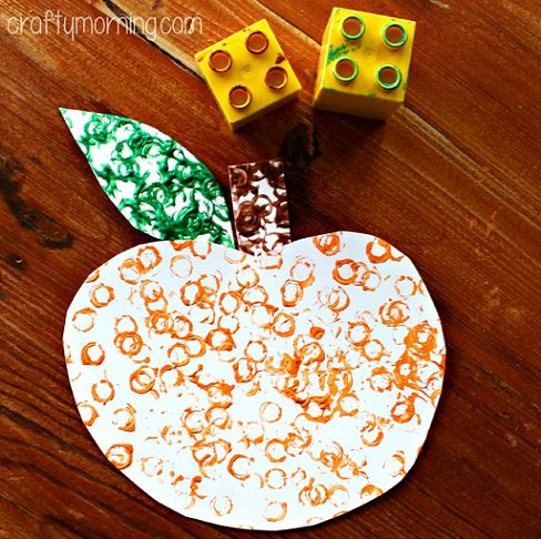 simple lego stamped pumpkin craft for kids - Preschool Halloween Art Projects
