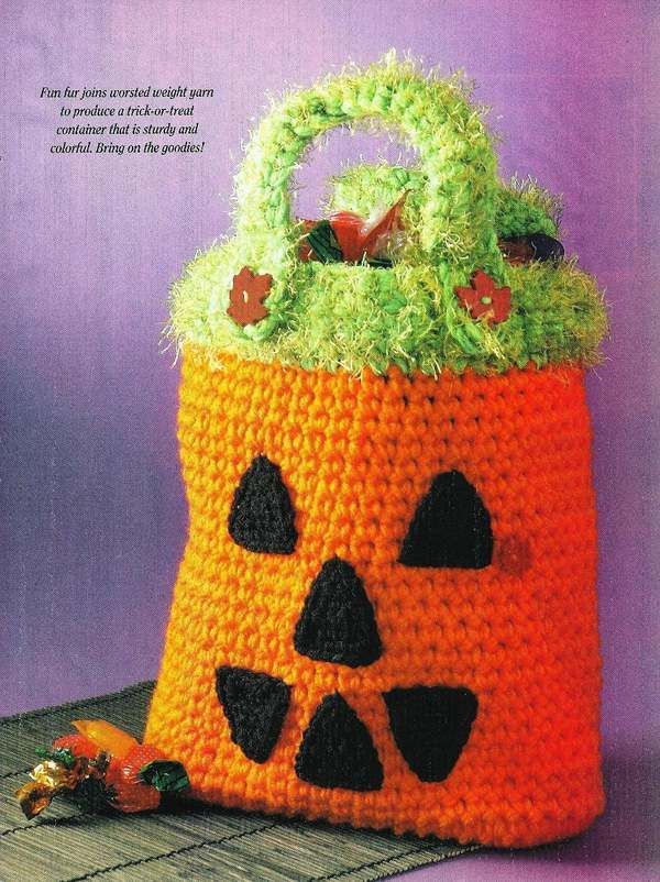 crochet trick or treat halloween pumpkin bag pattern