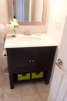 Main Bathroom vanity, lime green, hydrangea, espresso