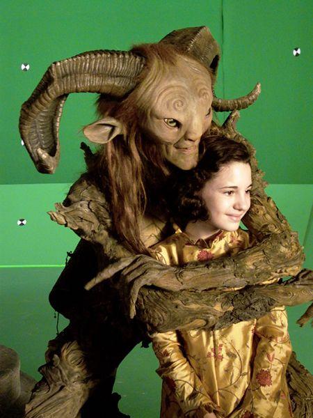 Doug Jones as El Fauno with Ivana Baquero as Ofelia on the set of El Laberinto del Fauno (Pan's Labyrinth)