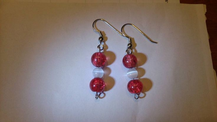 Red White cat eye earrings