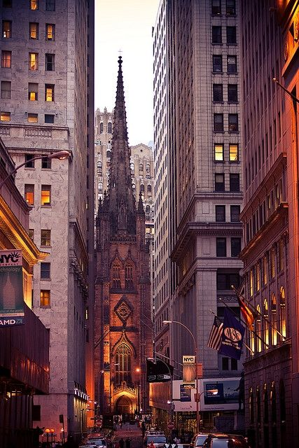"New York City ~~ down the street from the New York Stock Exchange.  Years ago I worked for Citibank on Wall Street. I saw this view twice a day.  I love my ""little town"""