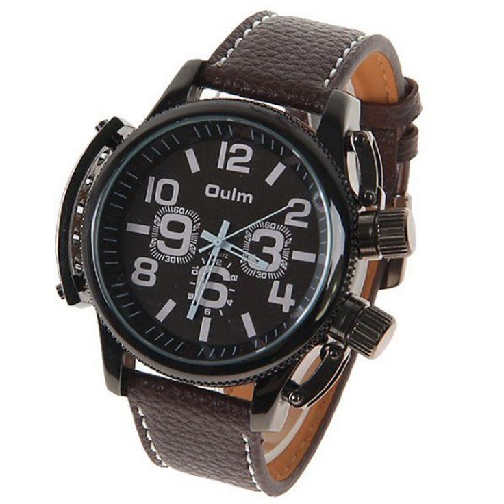 2013 Stylowe modne zegarki na rękę męskie marki Oulm cyfry wyznaczają godziny, duża tarcza, skórzany pasek(4 Kolory)