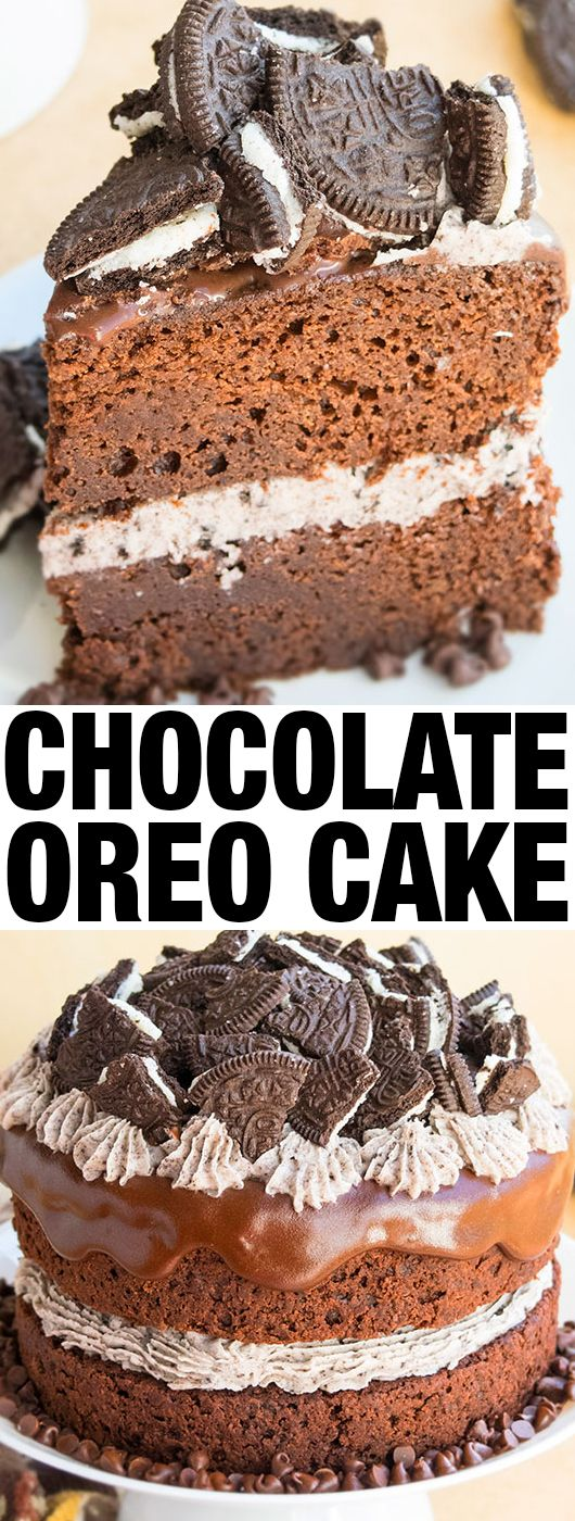 Easy CHOCOLATE OREO CAKE recipe from scratch filled with Oreo buttercream frosting and topped off with chocolate ganache. Perfect soft, moist birthday cake! From cakewhiz.com #cake #chocolate