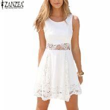 Zanzea 2016 Summer Style White Dress Women Casual Solid Lace Strapless Sexy A-line Short Mini Dresses Plus Size Vestidos(China (Mainland))