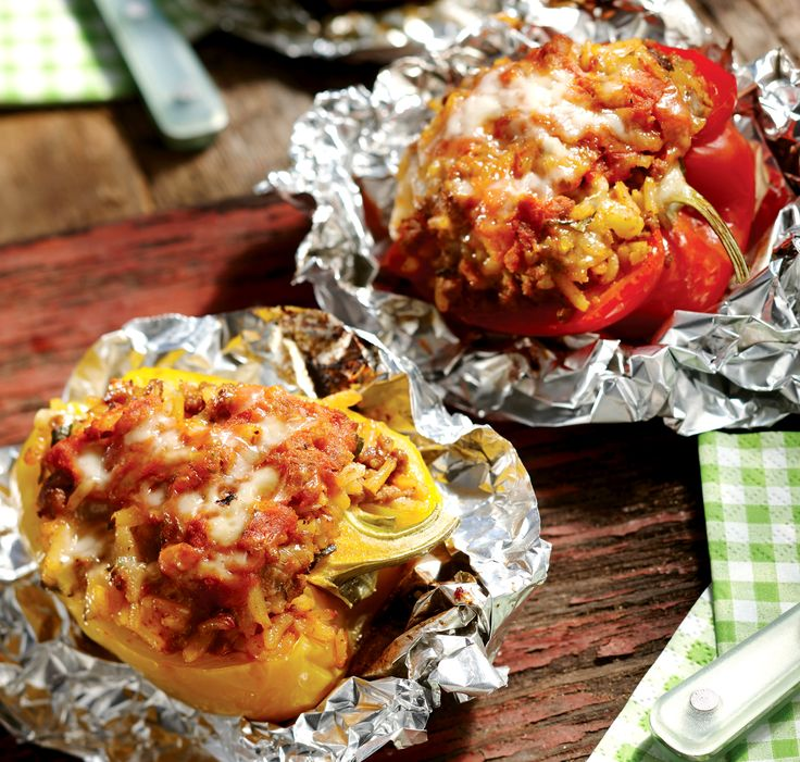 Stuffed peppers are loaded with Italian-style beef and rice, then wrapped in foil. Make ahead to cook while camping, BBQing, or in your kitchen oven.