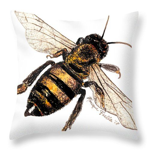 """""""Bee"""" throw pillow! My Grandfather was a beekeeper, so this painting is in his honor. Bees are little reminders that we all can achieve the impossible. Bees are not physically supposed to be able to fly because of their body weight, but they somehow do it anyways! Amazing!  #bee #bees #garden #gardener #gardening #spring #mothersday #throwpillow #pillow #pillows"""