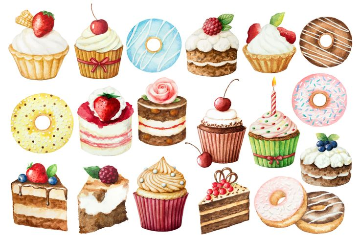 Watercolor sweet cakes and donuts! by Elena Medvedeva on @creativemarket