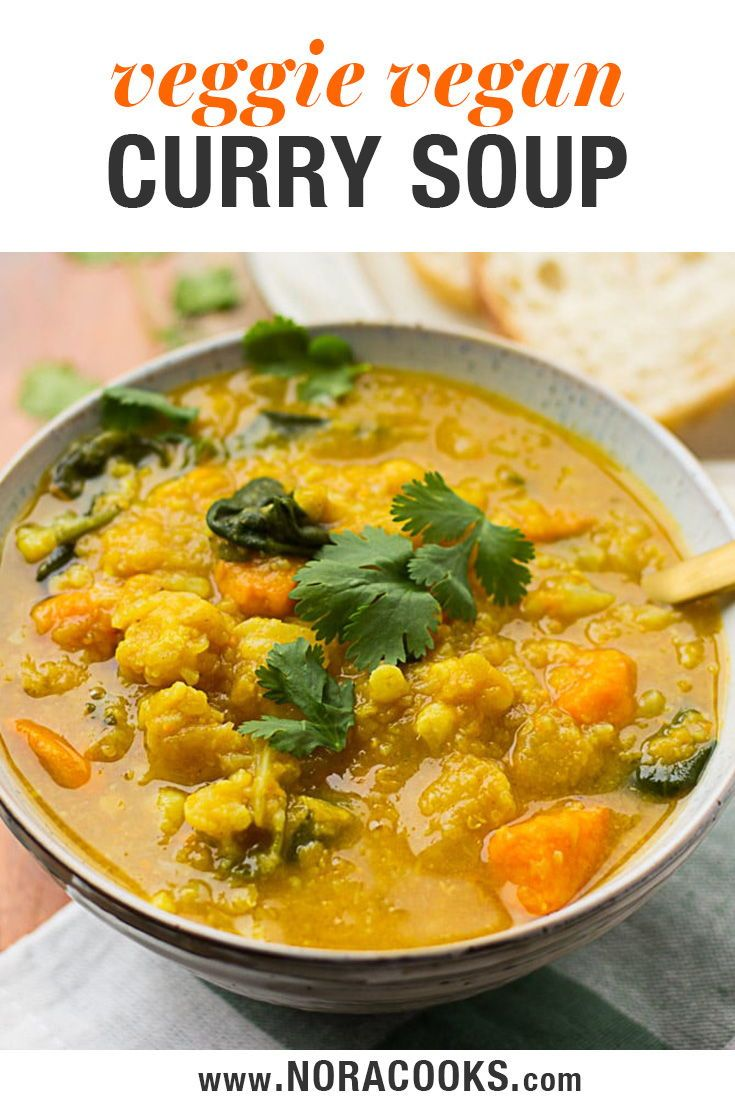 Cauliflower Sweet Potato Curry Soup With Spinach And Red