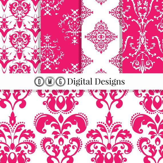 Hot Pink Damask Digital Paper: Pink Damask by OMGDIGITALDESIGNS