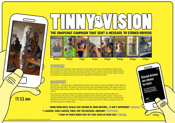 Snapchat drug-driving campaign a world-first for New Zealand A new approach was needed to reach an audience that doesn't want to be reached, so in a world-first for a road safety campaign, the Transport Agency teamed up with Snapchat to set up and seed 'Tinnyvision', an account fronted by a likeable group of young Kiwis.