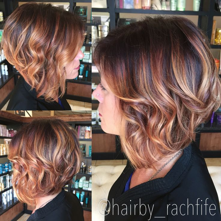 Short Angled Bob Rich Red Base With Golden Blonde Balayage