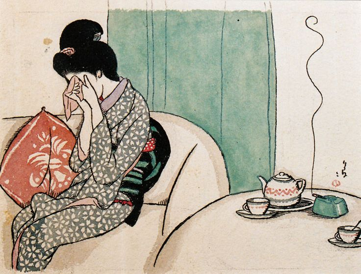Takehisa Yumeji 竹久夢二 (1884-1934) Sabishii yoru 寂しい夜 (Lonely night) - Japan - 1920s