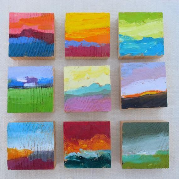 set di pittura astratta in miniatura, ordine ...