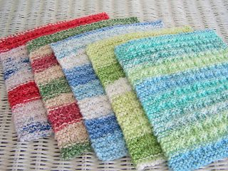 Waffle Knit Dishcloth-picture on blog links to free pattern. I've made dozens of these, no longer needing the simple pattern, which is quick to memorize. I always block them before gift giving them. It makes them look so much prettier.