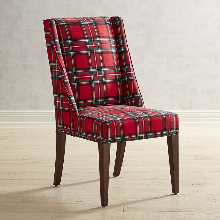 Owen Red Plaid Heirloom Dining Chair Red Dining Chairs