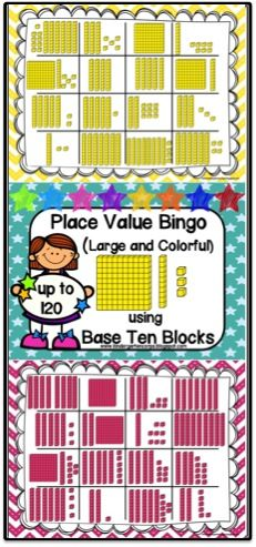 Place Value Bingo Game. Seven different Bingo Pages with bright, colorful borders and base ten block clip art. Number cards are provided to call out numbers. Students will get to practice skip counting using Base Ten Blocks up to 120!