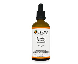 """Orange Naturals Ginseng (Siberian) Tincture:  This powerhouse herb is a tonic for those who have faced a spell of undue demands - whether physical or mental. Siberian ginseng has a growing reputation for helping the whole body deal with stressful exposures such as heat, cold, physical exhaustion, viruses, bacteria, chemicals, extreme working conditions, noise and pollution. That is quite the tonic! In Asia it's called the """"king of herbs""""."""