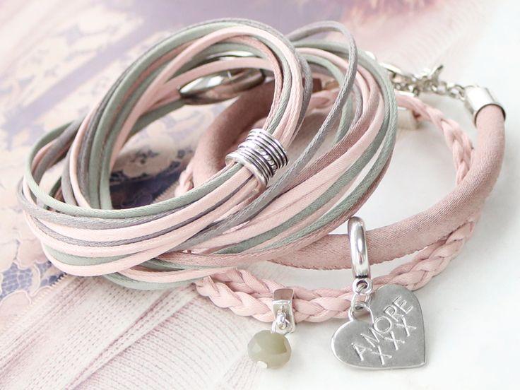 Armbanden met zijde look van nieuw trendy koord silk stijl!