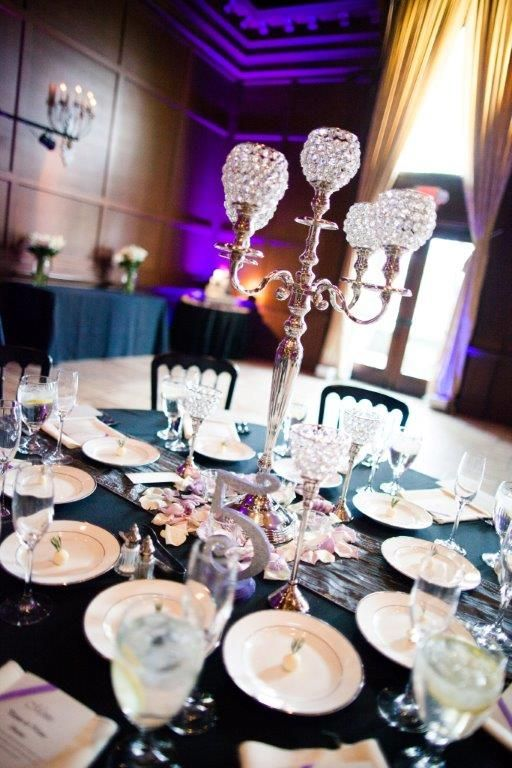Black and purple table settings with crystal candelabra | About Love Studio | villasiena.cc & 47 best Table Settings and Linens images on Pinterest | Desk layout ...