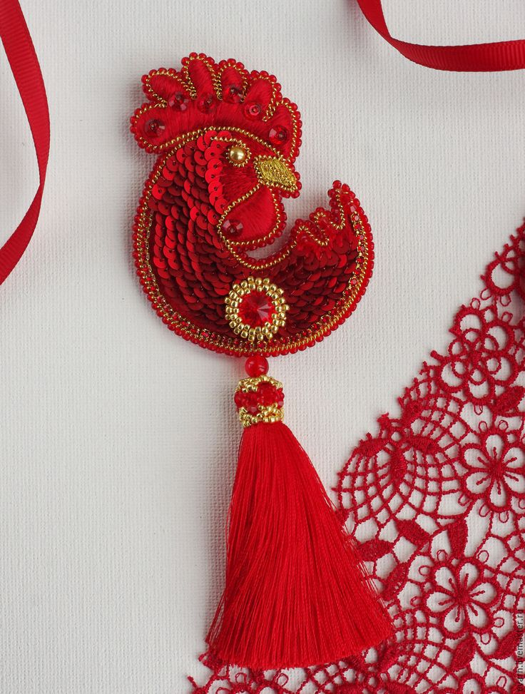 Купить Брошь-кулон КРАСНЫЙ ПЕТУХ - ярко-красный, золотой, брошь, кулон, петух, украшение