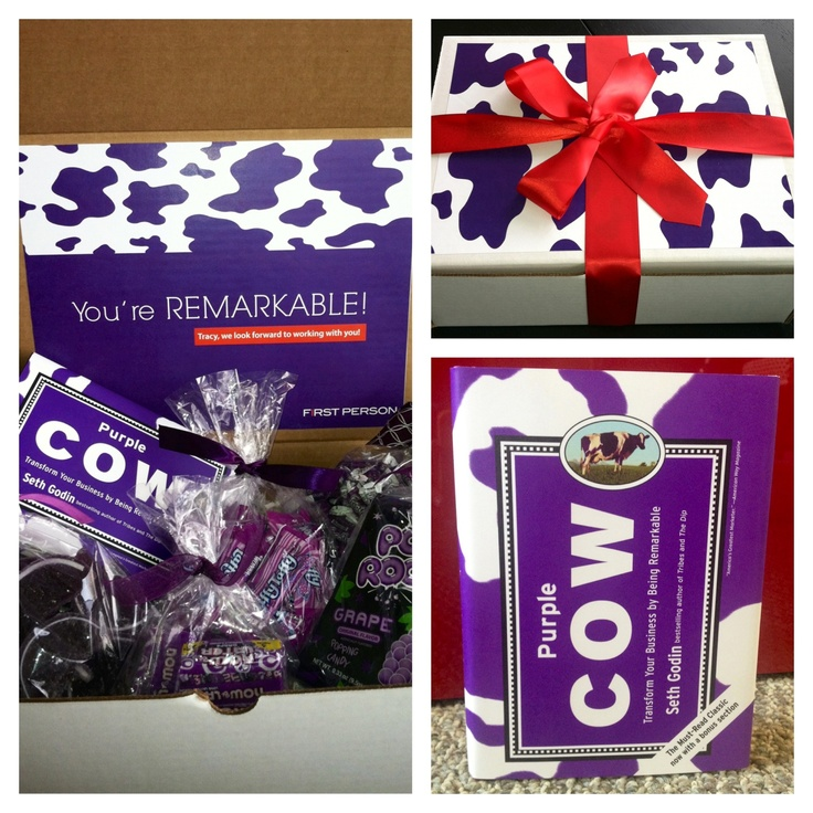 You are remarkable! Seth Godin inspirational box with the Purple Cow book and purple candy (Laffy Taffy, grape jellies, Pop Rocks, Now and Later, and Frooties)